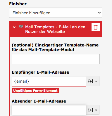TYPO3 Modul Forms Finisher Mail Templates Invalid Form Element