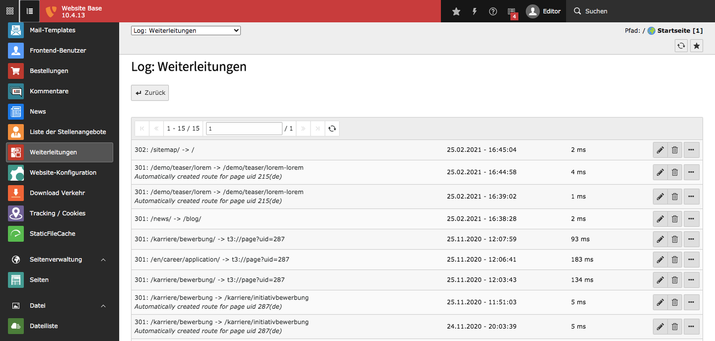 TYPO3 Backend Module Redirects Log