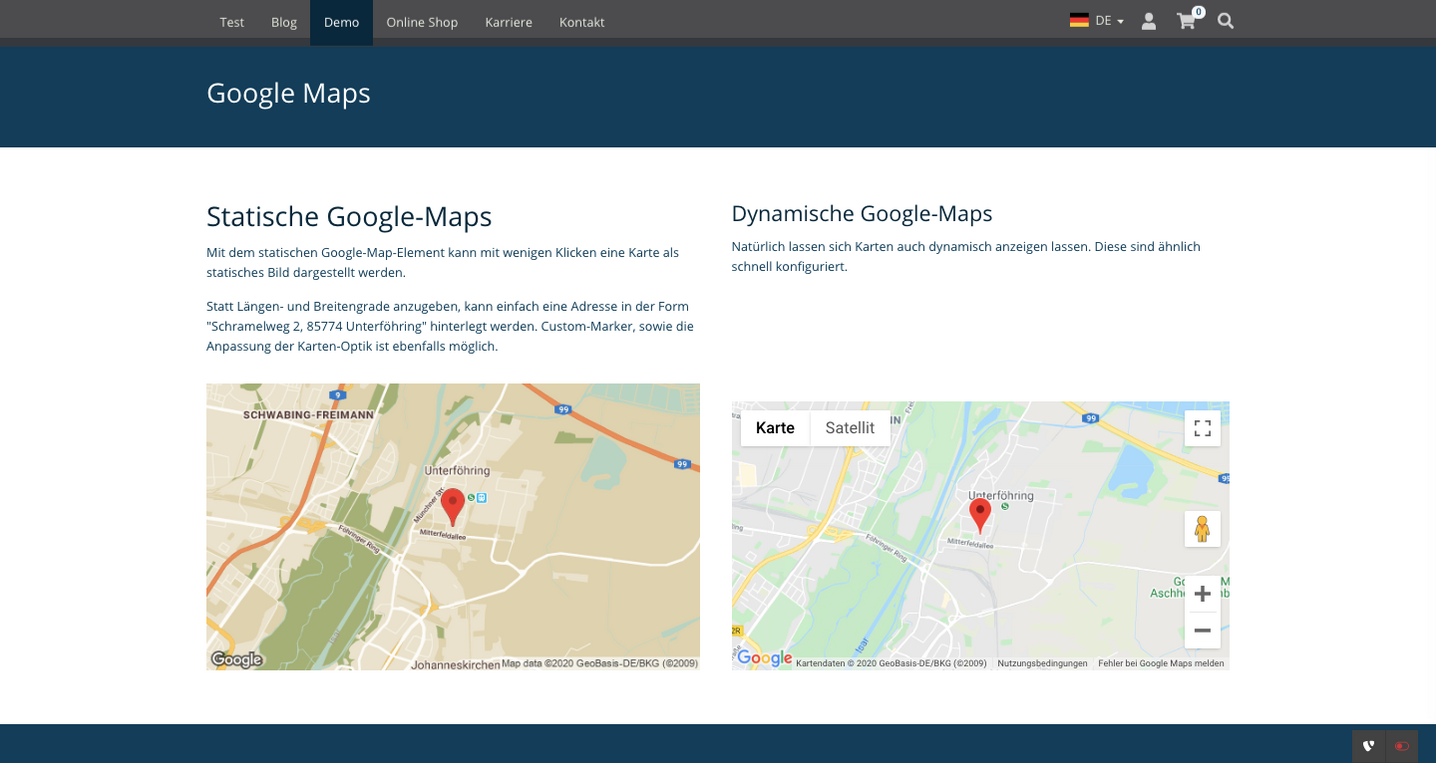 TYPO3 Mask Element Static Map Frontend
