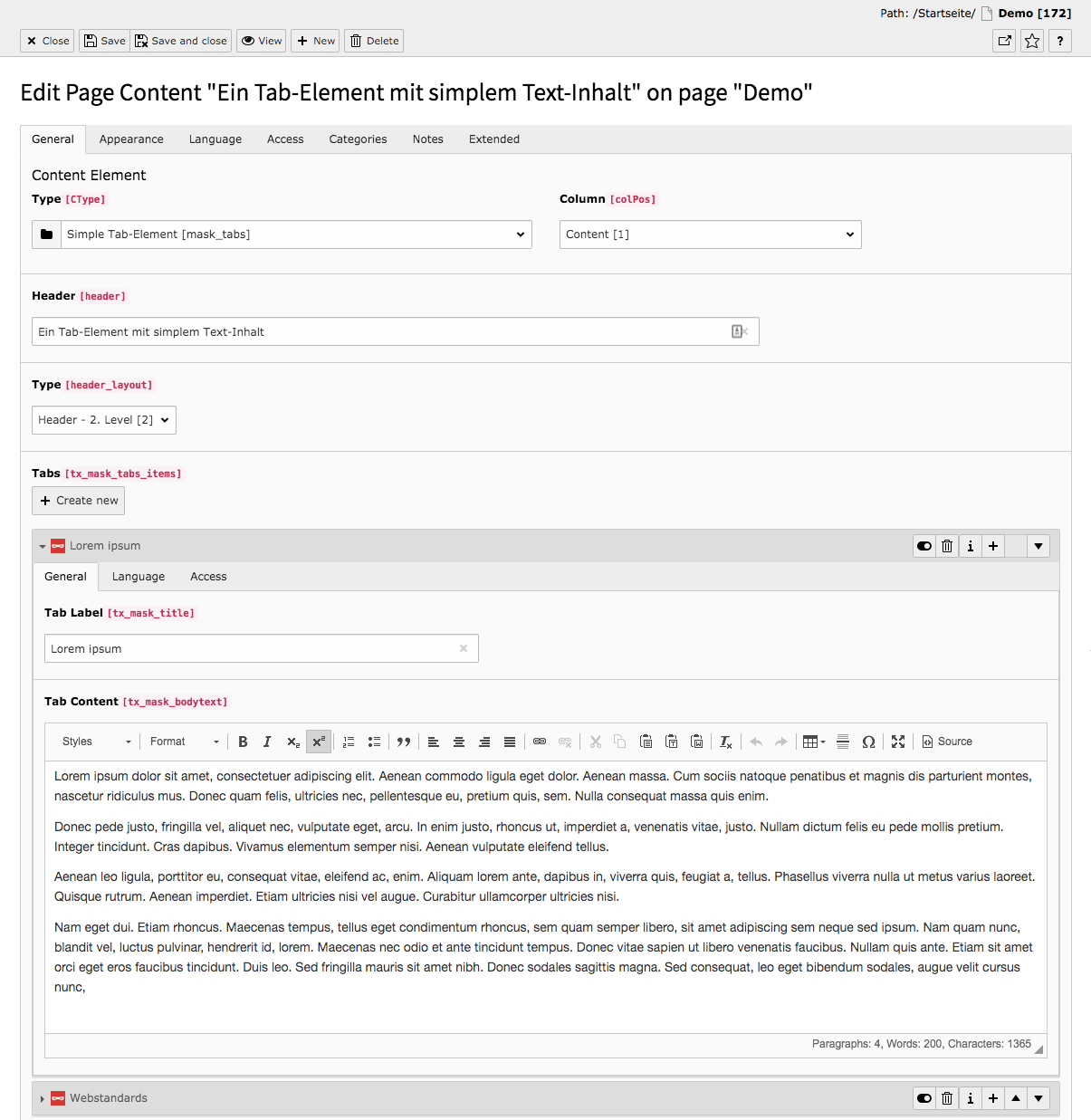 TYPO3 Content Element Mask Elements Simple Tab-Element Backend Tab General