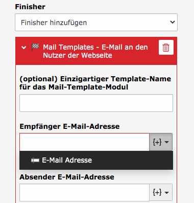 TYPO3 Modul Forms Finisher Mail Templates Required Field: Receiver email address