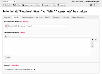 TYPO3 Inhaltselement Plug-In Cookie-Opt-In Frontend