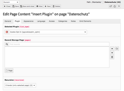 TYPO3 Content Element Plugins Cookie Opt In Backend Tab Plugin