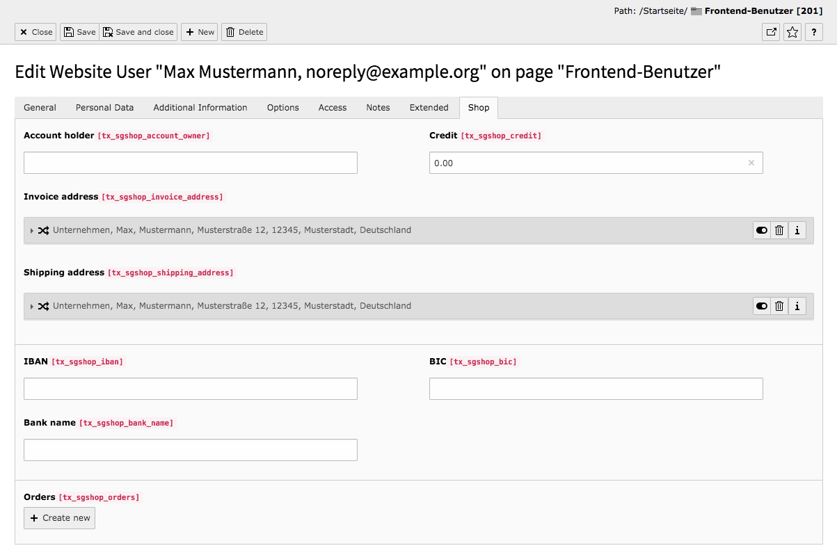 TYPO3 Module Frontend Users Tab Shop