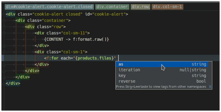 The fluid plug-in retrofits the missing IDE support for the Fluid template template