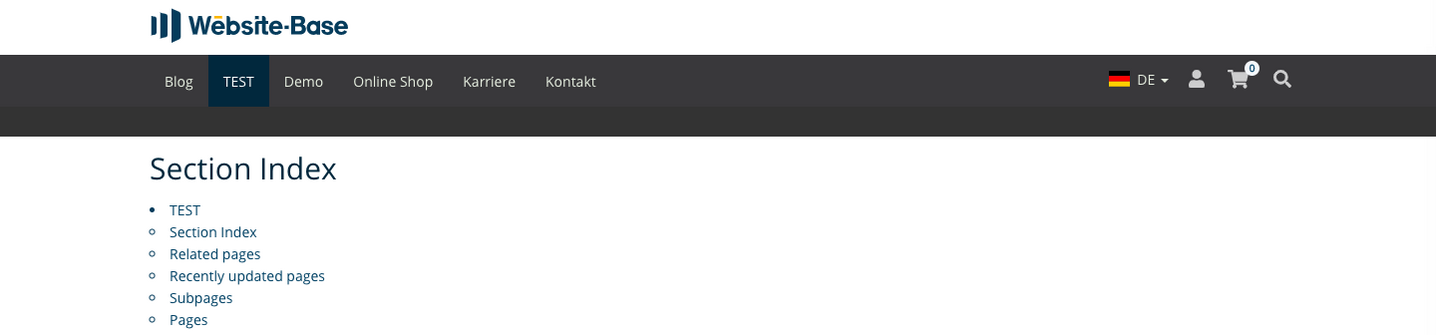 TYPO3 Content Element Menu Section Index Frontend