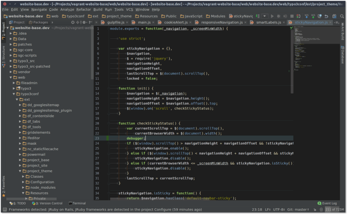 A breakpoint can quickly be set right inside your IDE