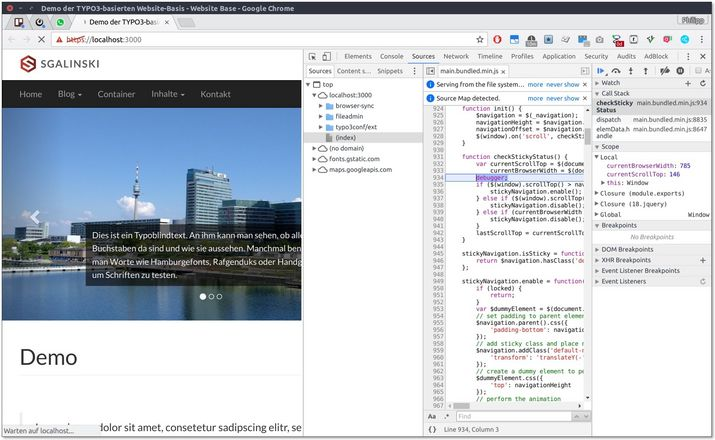 The devtools will stop JS execution at your debugger statement
