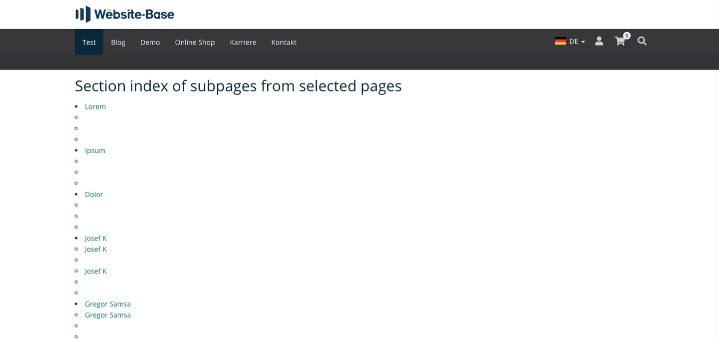 TYPO3 Section index of subpages from selected pages Frontend