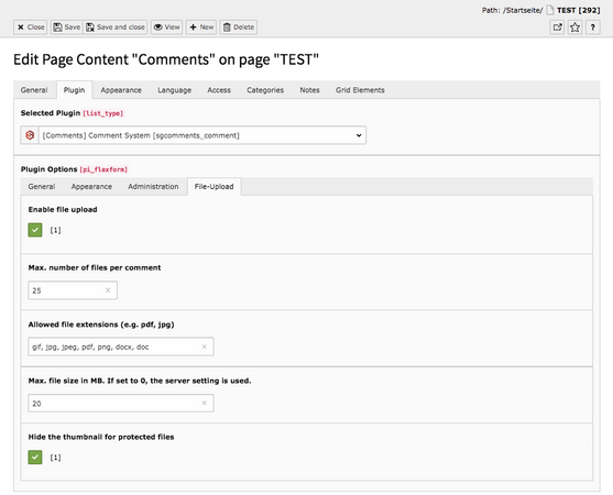 TYPO3 Content Element Plugins Comments Backend Tab Plugin File-Upload