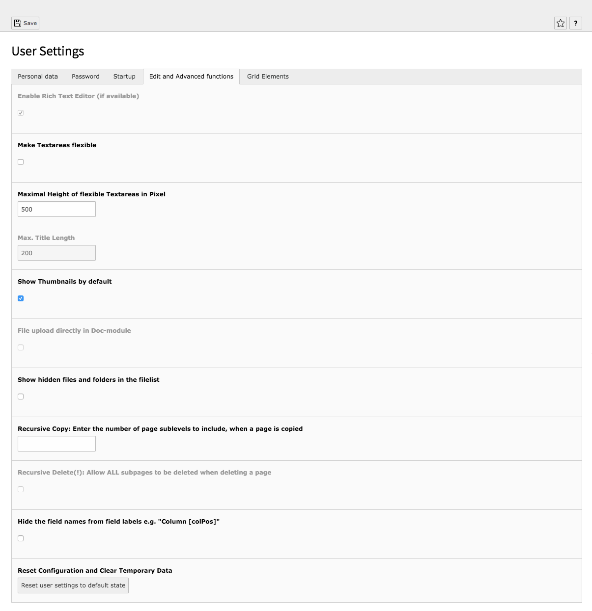 TYPO3 User Settings Tab Edit and Advanced functions