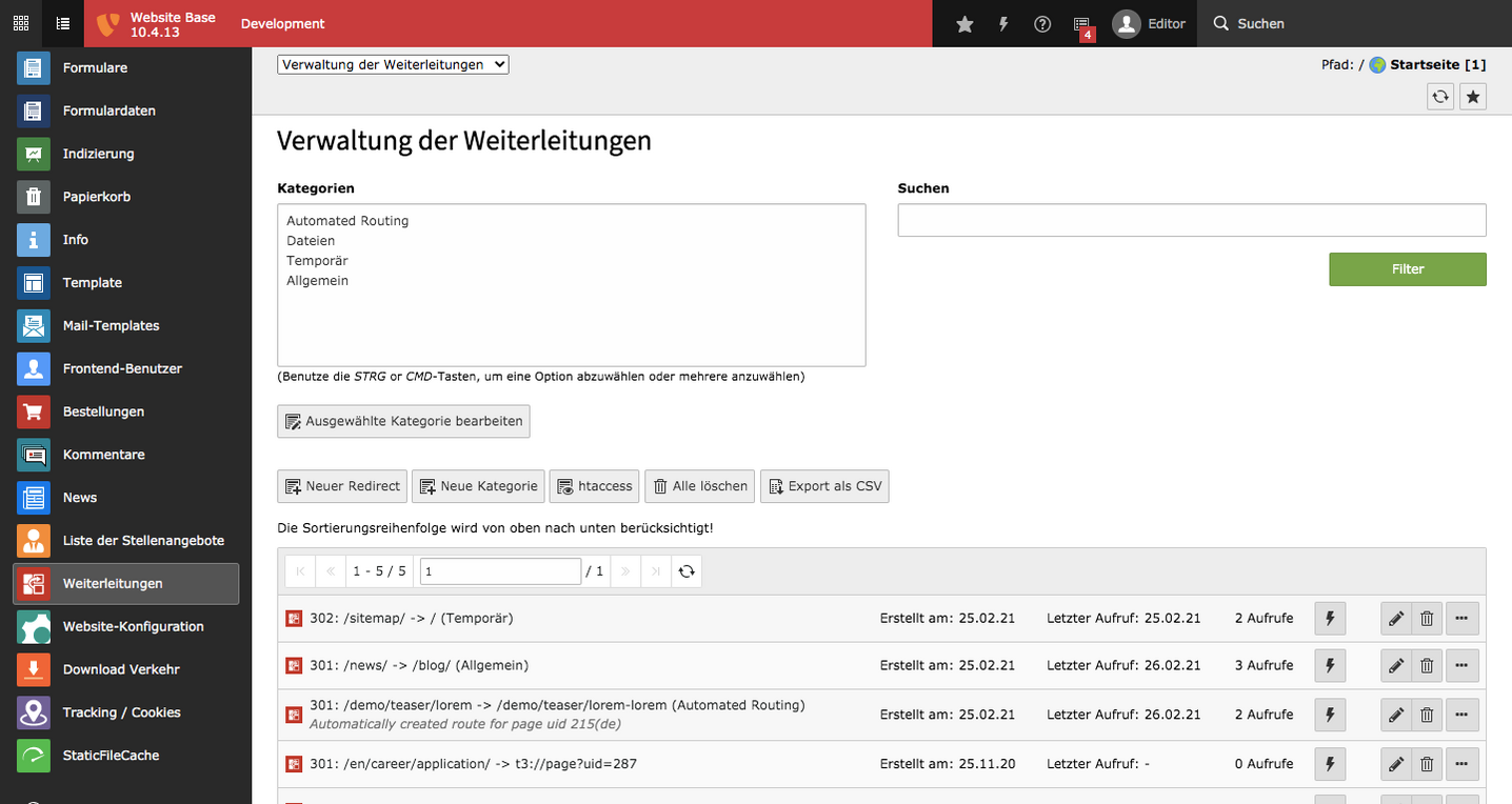 TYPO3 Backend Module Redirects