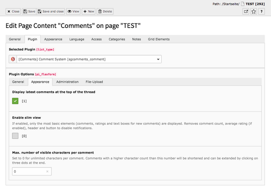 TYPO3 Content Elements Plugins Comments Backend Tab Plugin Appearance