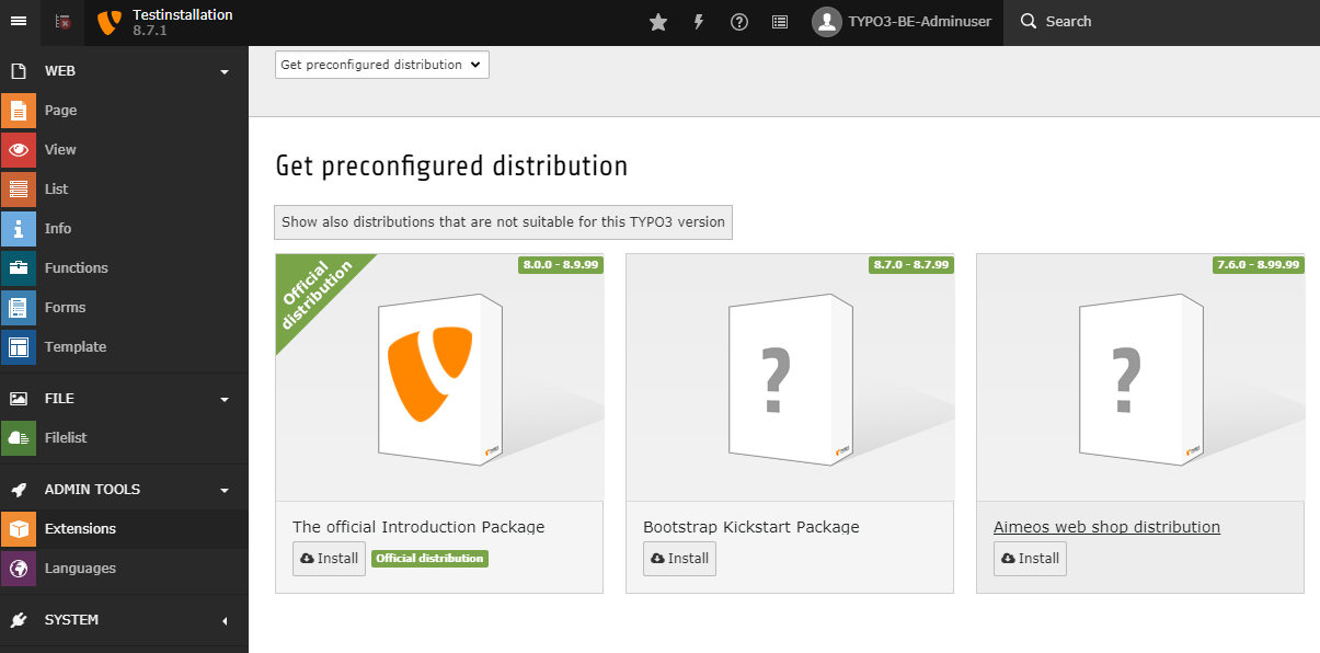 Instructions - TYPO3 installation on a shared hosting