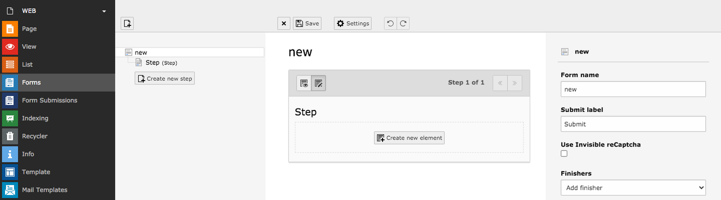 TYPO3 Module Forms Empty Form