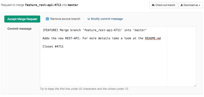 Customize the commit message