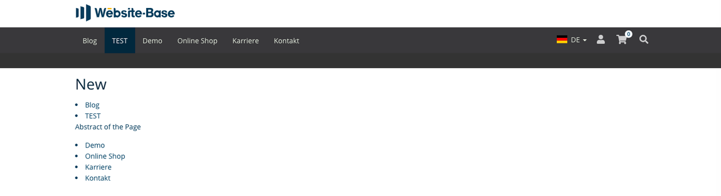 TYPO3 Content Element Menu Abstract Frontend