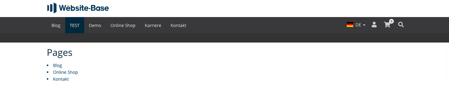 TYPO3 Content Element Menu Pages Frontend