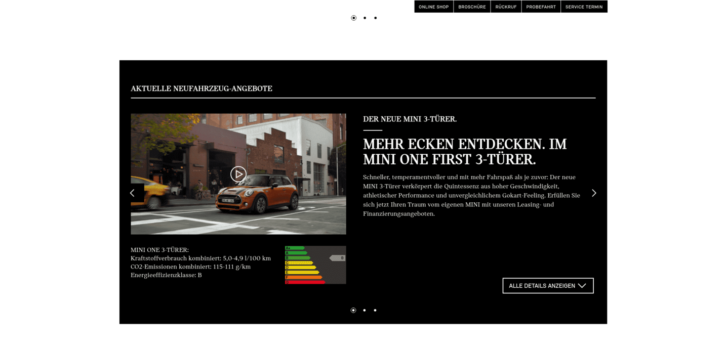 BMW MINI Website Screenshot