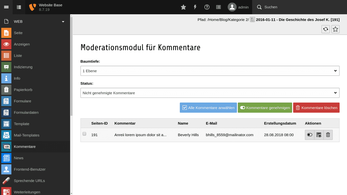 TYPO3 Backend Module Comments