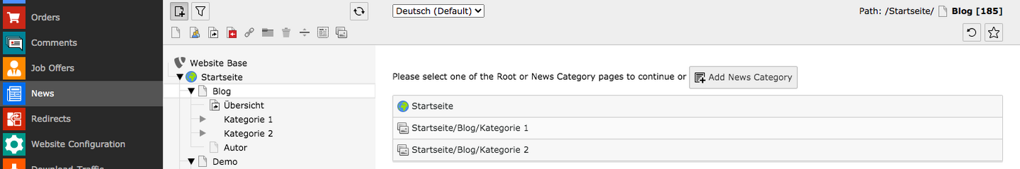 TYPO Module News Select Root oder News Category page