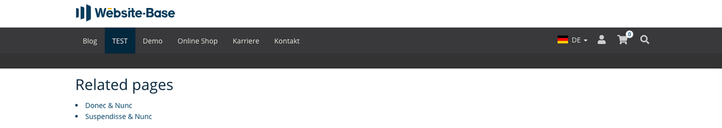 TYPO3 Content Element Menu Related pages Frontend