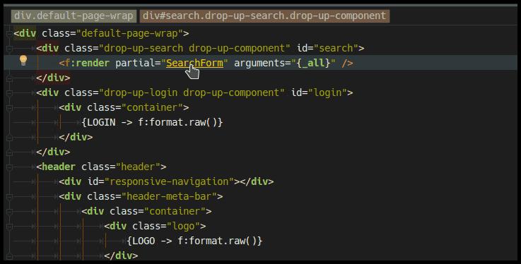 Mit Strg + Klick kann blitzschnell zu der Codezeile gesprungen werden die das ausgewählte Element definiert. Auch über Dateigrenzen hinweg.