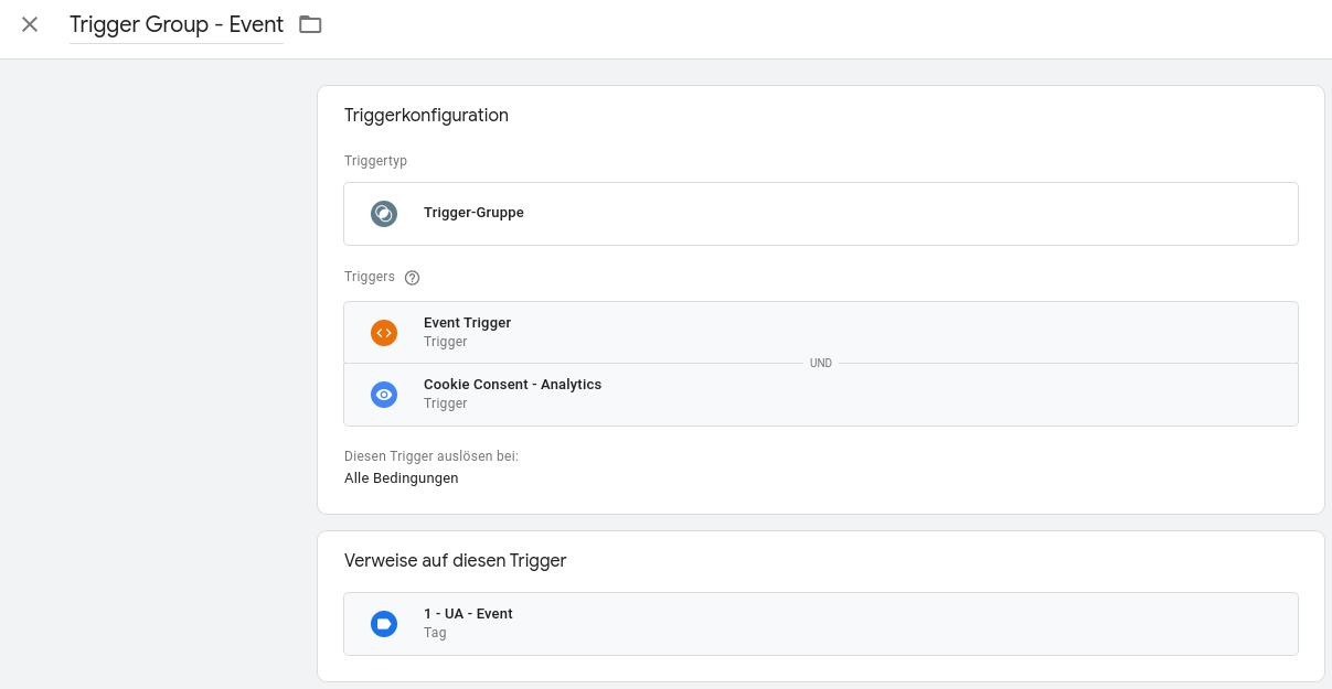 Google Tag Manager Trigger-Gruppe