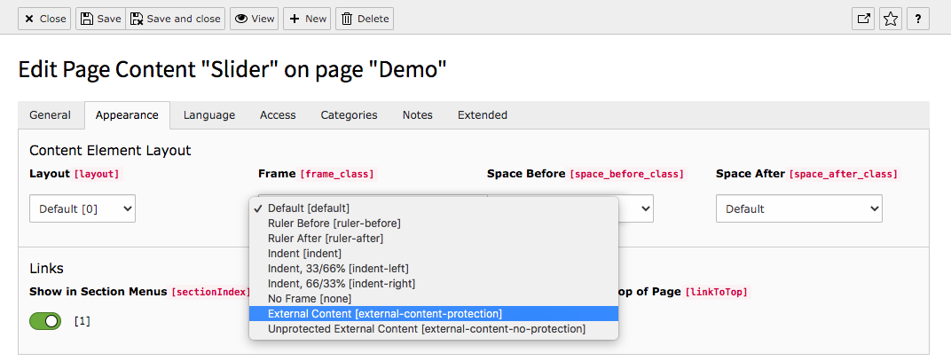 TYPO3 Content Element Tab Appearance External Content