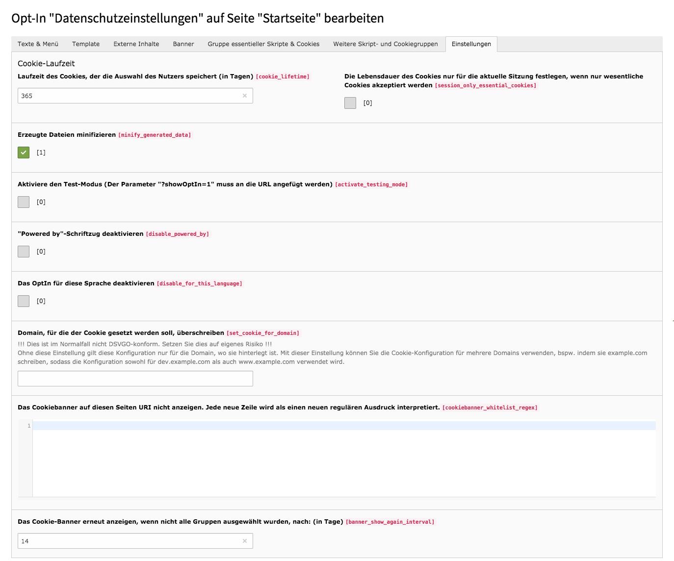 Cookie Consent TYPO3 Website-Base Tab Einstellungen