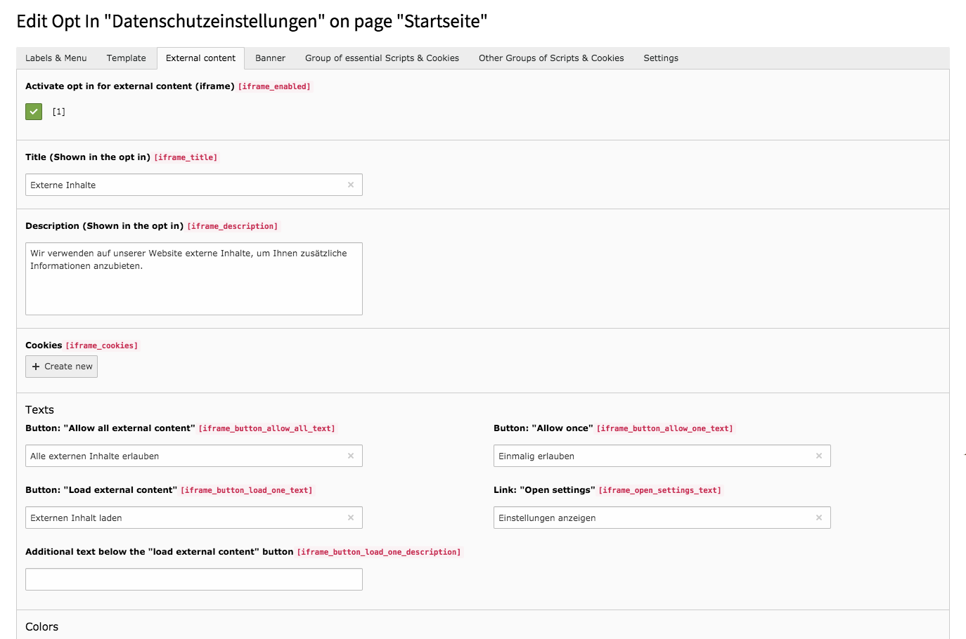 Cookie Consent TYPO3 Backend Tab External Content