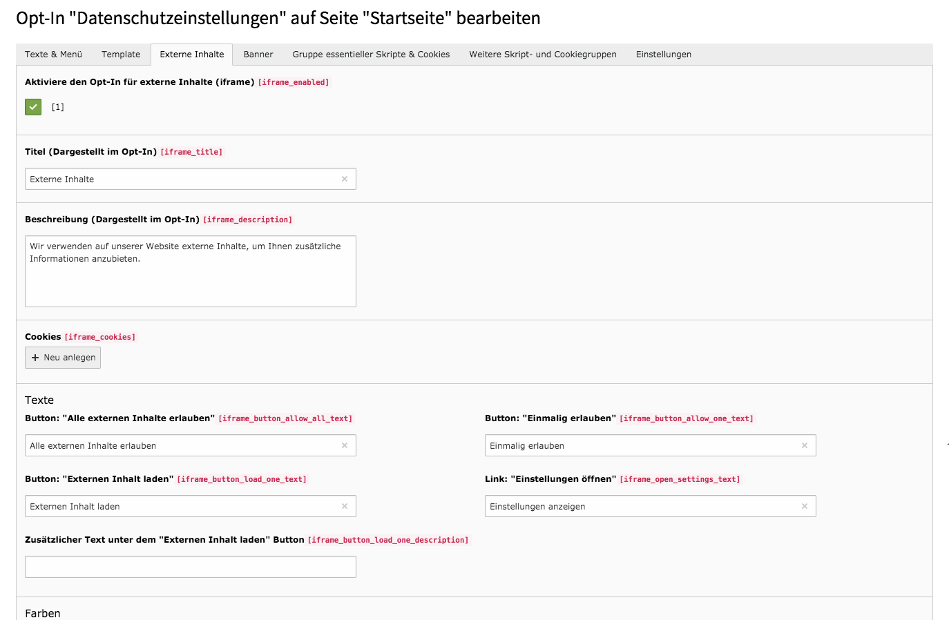 Cookie Consent TYPO3 Website Base Backend Externer Inhalt