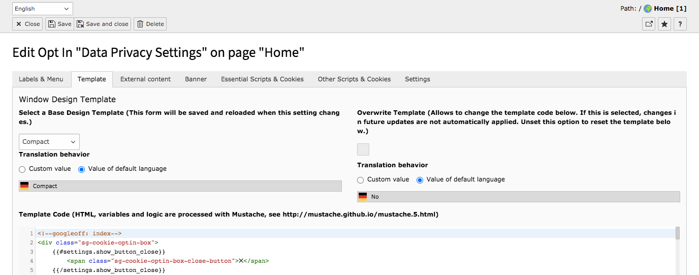 TYPO3 Cookie Consent Backend Module Tab Template Translation