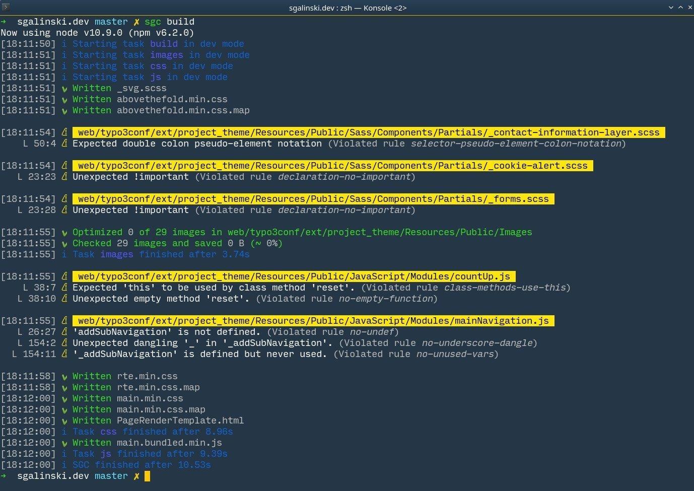 SGC v3 Linting Error Console Output