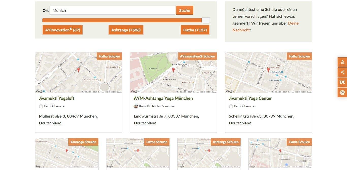 Ashtanga Yoga Website Screenshot