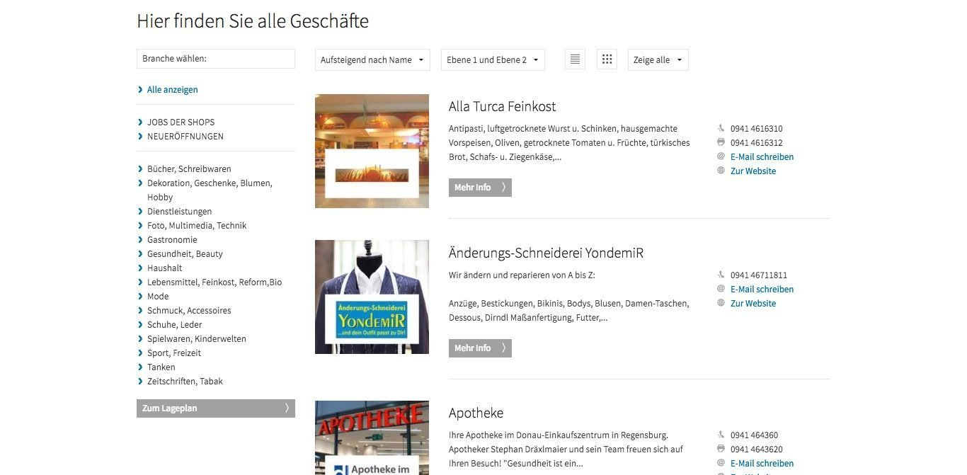 Donaueinkaufszentrum Website Screenshot