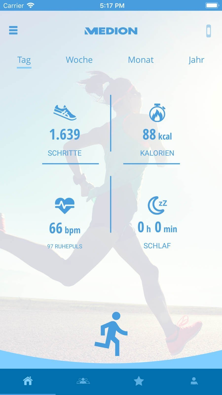 MEDION Fitness App Dashboard