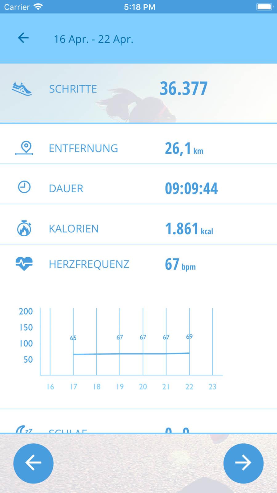 MEDION Fitness App Detailansicht
