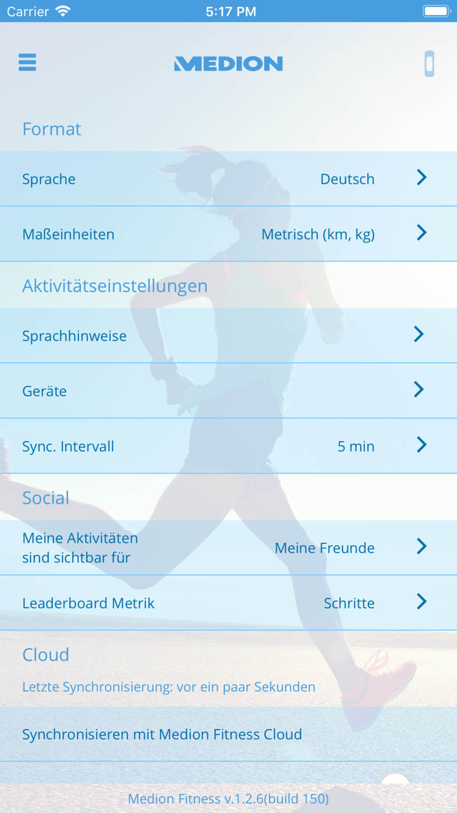 MEDION Fitness App Settings