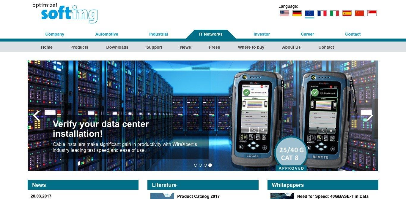 Softing IT Networks Website Screenshot