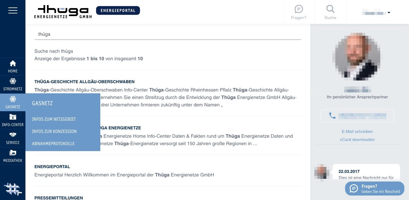 Thüga Energienetze Energieportal Website Screenshot