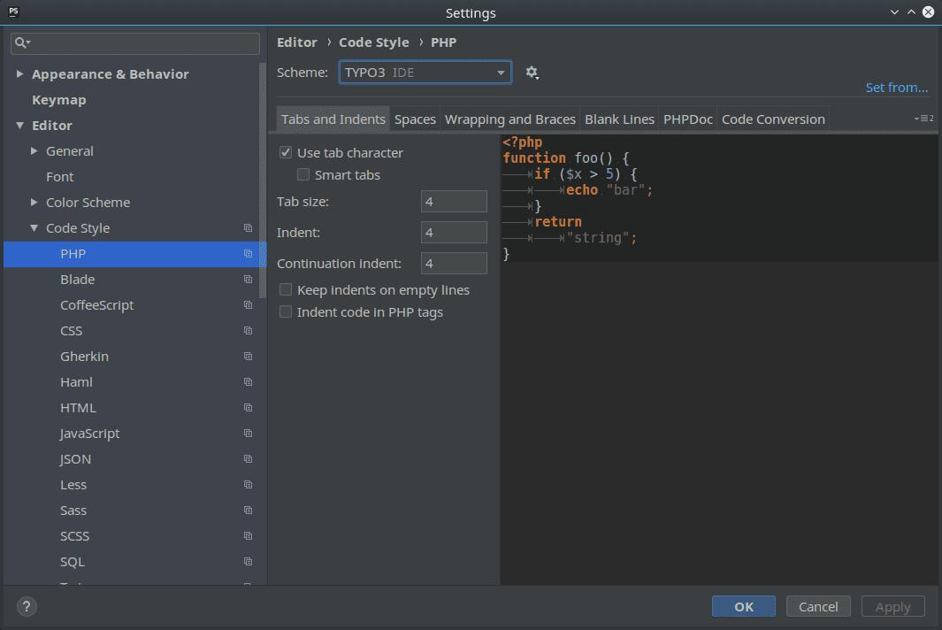 Code Style Languages Setting
