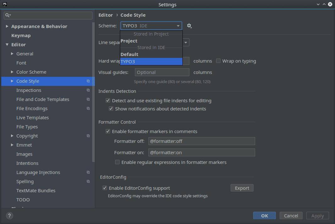Change Code Style Scheme in PhpStorm