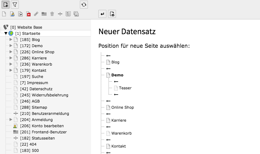 Neu-Erstellen-Assistent Inhaltsbereich TYPO3