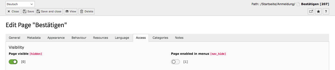 TYPO3 Page Properties Backend Tab Access Page disabled in menus
