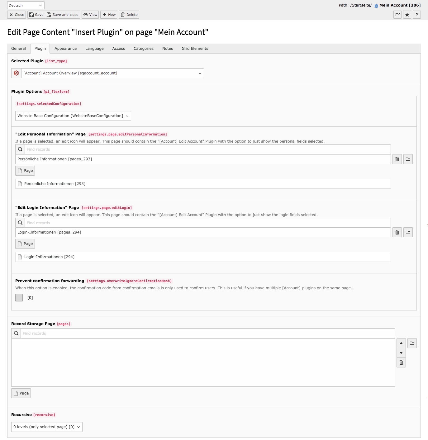 TYPO3 Content Element Account Overview Backend Reiter Plugin