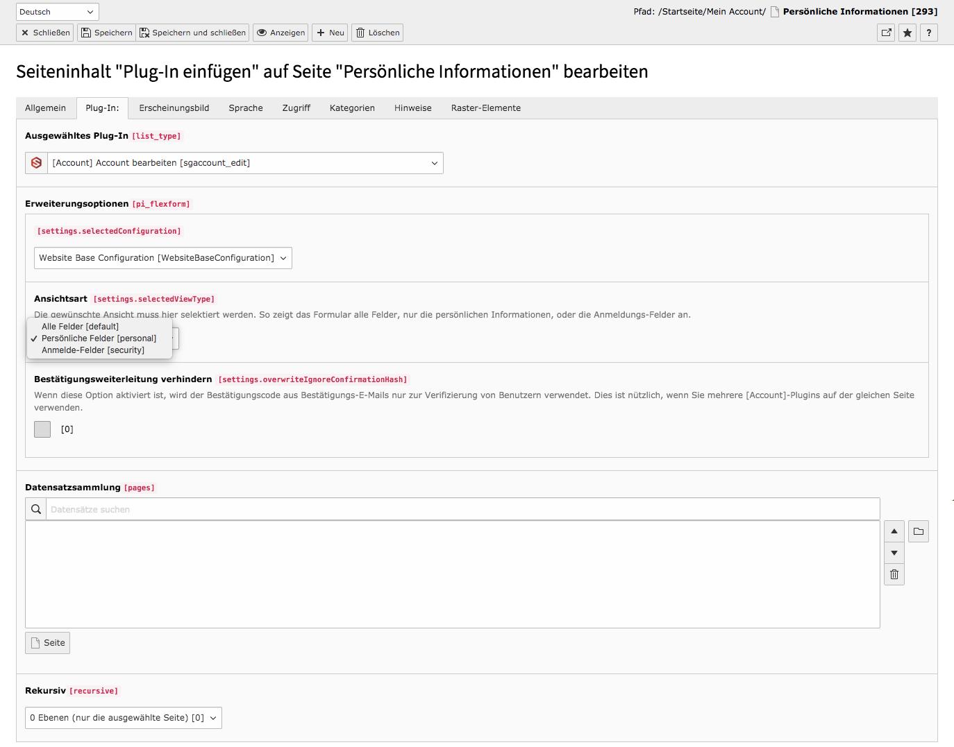 TYPO3 Inhaltselement Account bearbeiten Backend Reiter Plug-In