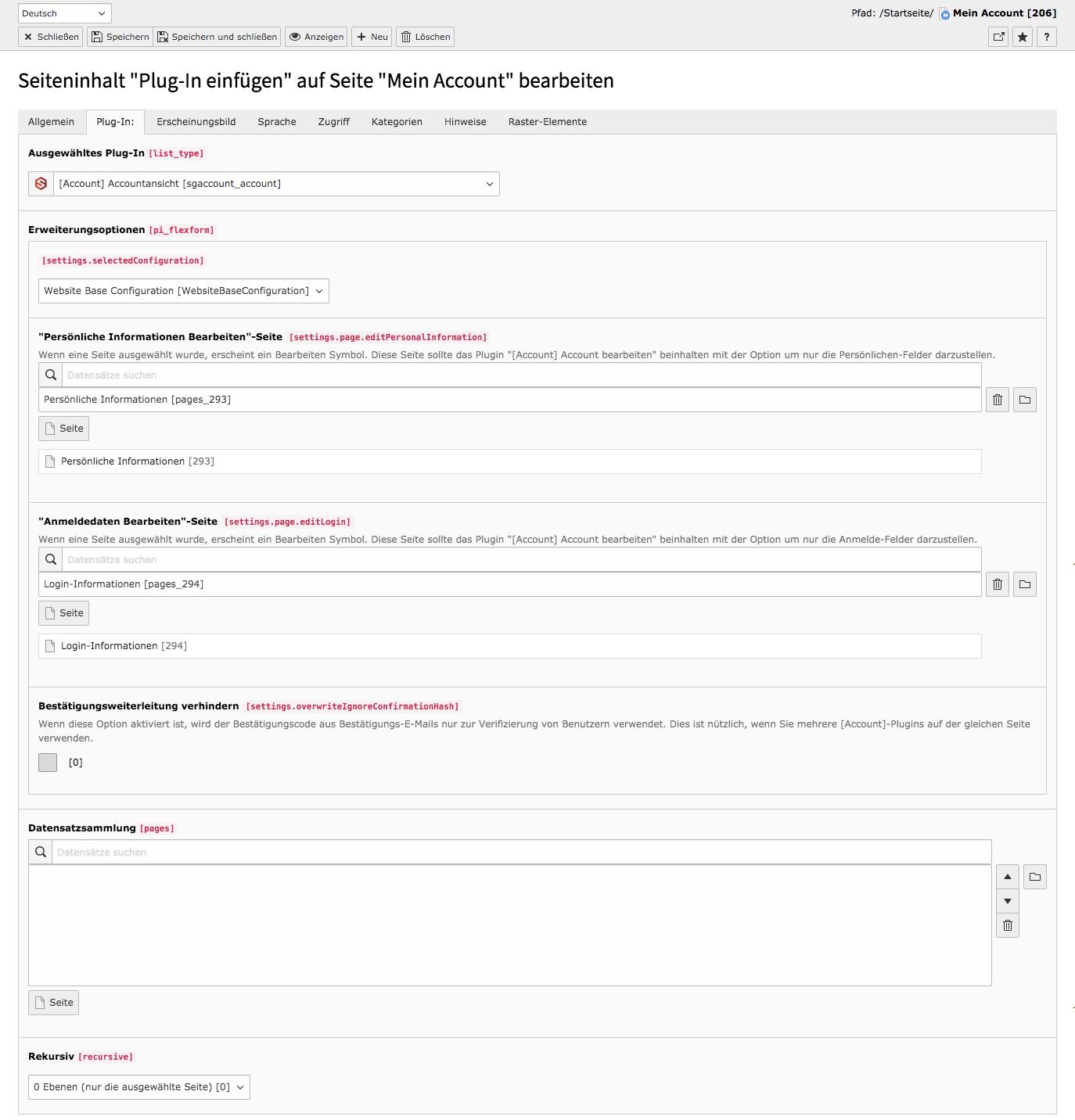 TYPO3 Inhaltselement Accountansicht Backend Reiter Plug-In