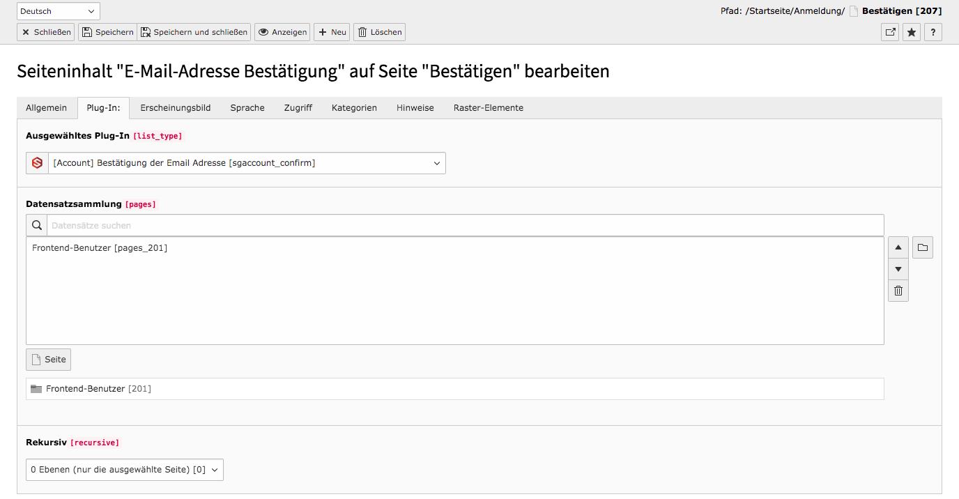 TYPO3 Account Inhaltselemente Bestätigung der E-Mail-Adresse Backend Reiter Plug-In