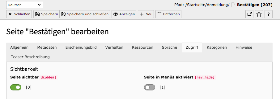 TYPO3 Backend Page properties Tab Access Enable in menus